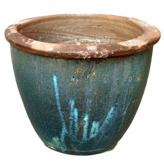 Vintage Mid Century Drip Glazed Blue Green Toned Outdoor Garden Planter For Sale