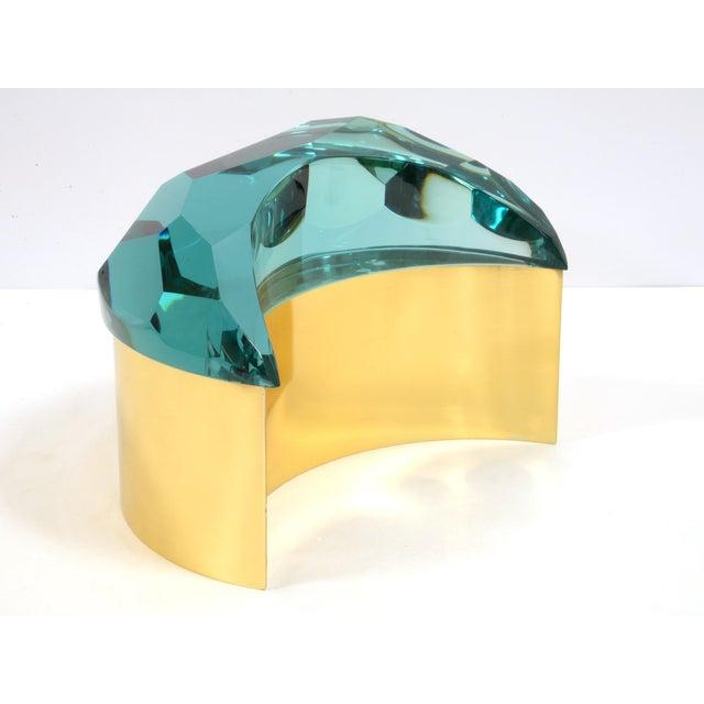 """Roberto Giulio Rida (born in 1943) """"Brioche"""" box Brass and blue tinted glass Italy, 2016"""