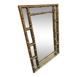 1970s Vintage Gold Faux Bamboo Mirror