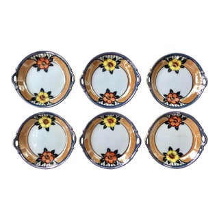 Japanese Noritake Lusterware Floral Sauce Plates - Set of 6 For Sale