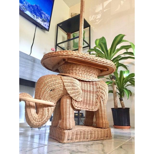 Hollywood Regency Wicker Elephant Table & Lamp - Image 10 of 11
