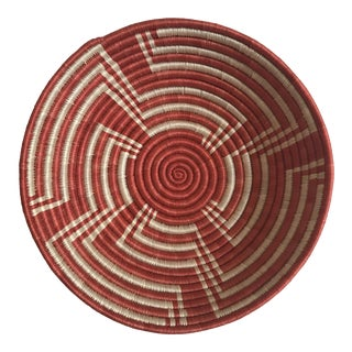 African Contemporary Red Basket For Sale