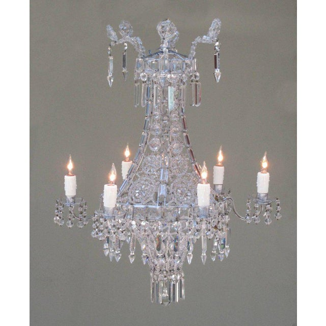 Crystal Early 20th Century Italian Neoclassical Crystal and Tole Chandelier For Sale - Image 7 of 8