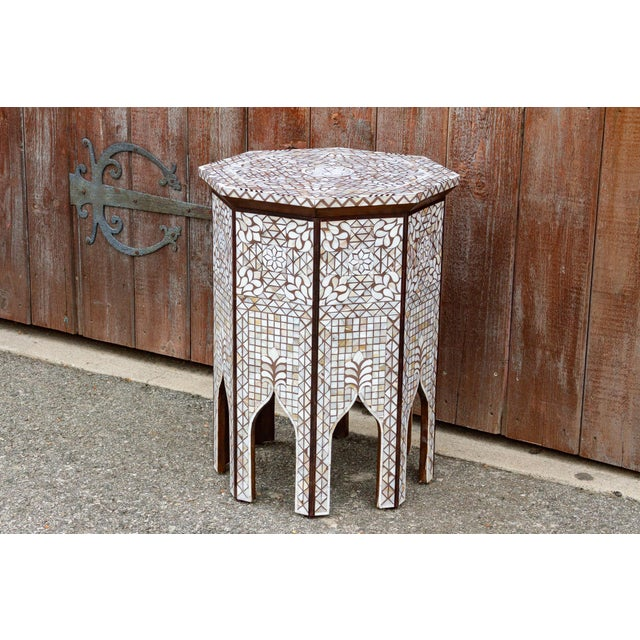Asian Syrian Mother of Pearl Inlaid Table For Sale - Image 3 of 10