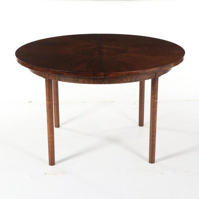1990s Contemporary Walnut and Burl Wood 3 Leaf Extension Dining Table For Sale - Image 4 of 13