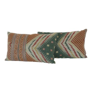 Vintage Indian Kantha Print Pillows - A Pair For Sale