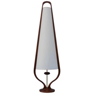Modeline Tall Walnut Table Lamp For Sale