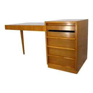 1950s Mid-Century Modern Robsjohn Gibbings for Widdicomb Walnut Cantilever Desk For Sale
