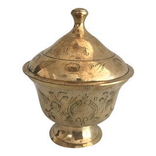 Antique Turkish Brass Decorative Sugar Bowl For Sale