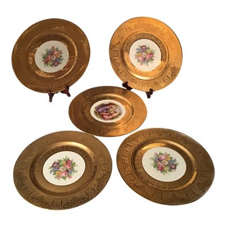 1940s 22K Gold Royal China Warranted Floral and Angelica Kaufmann Cherub & Maidens Dinner Plates - Set of 5 For Sale