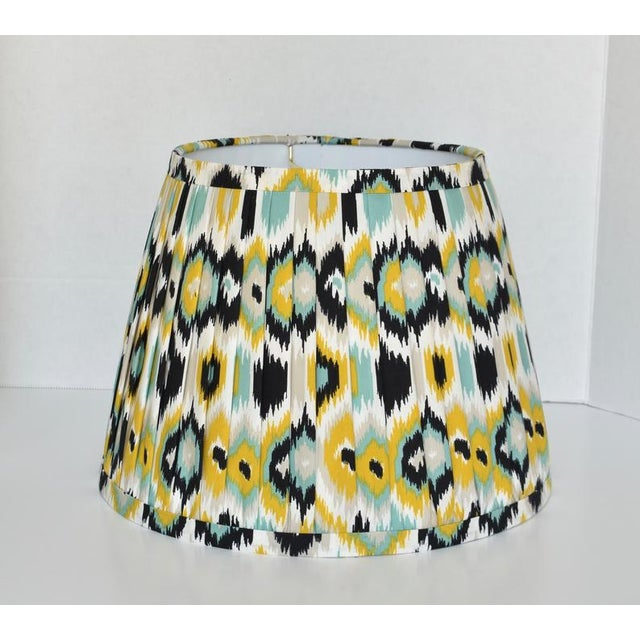Contemporary Pleated Ikat Yellow Blue Lamp Shade For Sale - Image 3 of 3