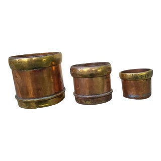 Set of 19th Century Copper and Brass Grain Measures For Sale