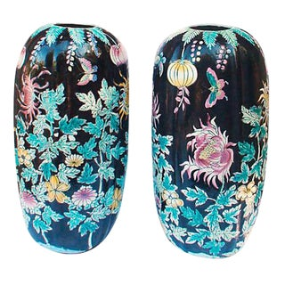 Tall Chrysanthemum Floor Vase - A Pair