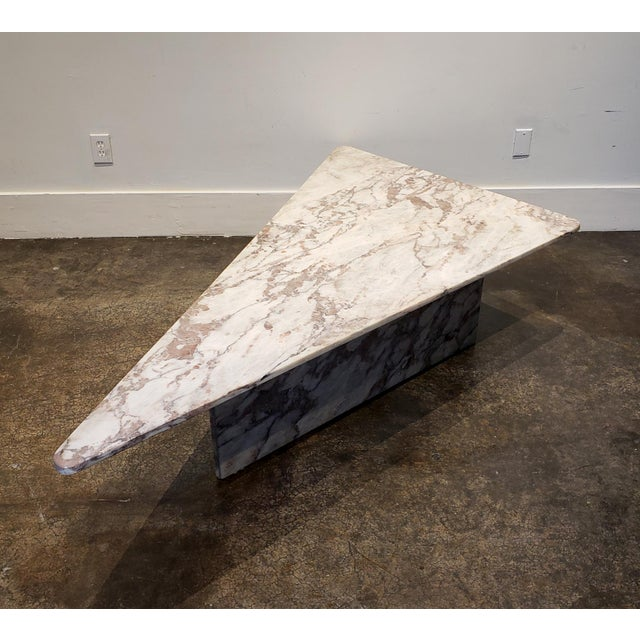 1970s 1970s Triangular White Marble Italian Coffee Table For Sale - Image 5 of 11