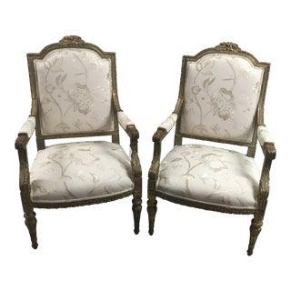 Gilt French Floral Upholstered Arm Chairs - a Pair