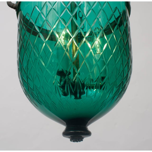Green Diamond-Cut Bell Jar Lantern For Sale - Image 4 of 6