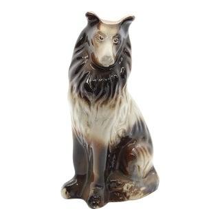 1960's Vintage Ceramic Glazed Collie Shetland Sheepdog Dog Statue For Sale