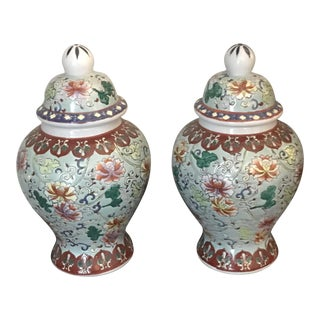 Chinoiserie Vintage Multicolor Floral Design Ginger Jars - a Pair