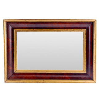 19th Century Empire Mahogany and Parcel Gilt Wall Mirror For Sale