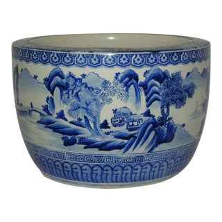 Massive Kangxi Style 'Poetic Landscape' Blue and White Porcelain Planter