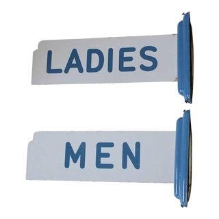 Art Deco Porcelain Men & Ladies Restroom Signs - a Pair For Sale