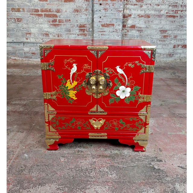 """Chinese Beautiful Red Lacquered commodes -a Pair size 22 x 14 x 23"""" A beautiful piece that will add to your décor!"""