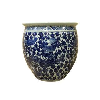 Chinese Blue White Dragon Flower Porcelain Pot Vase