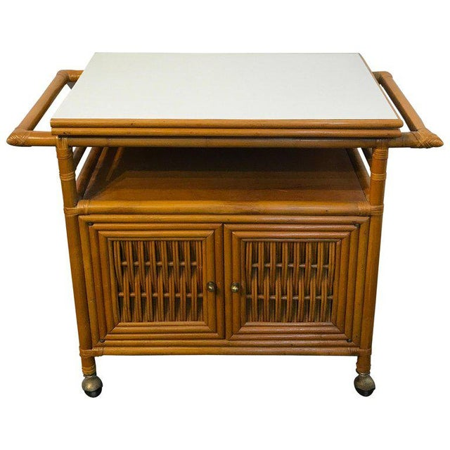 Midcentury Rattan Expandable Bar Cart For Sale - Image 13 of 13
