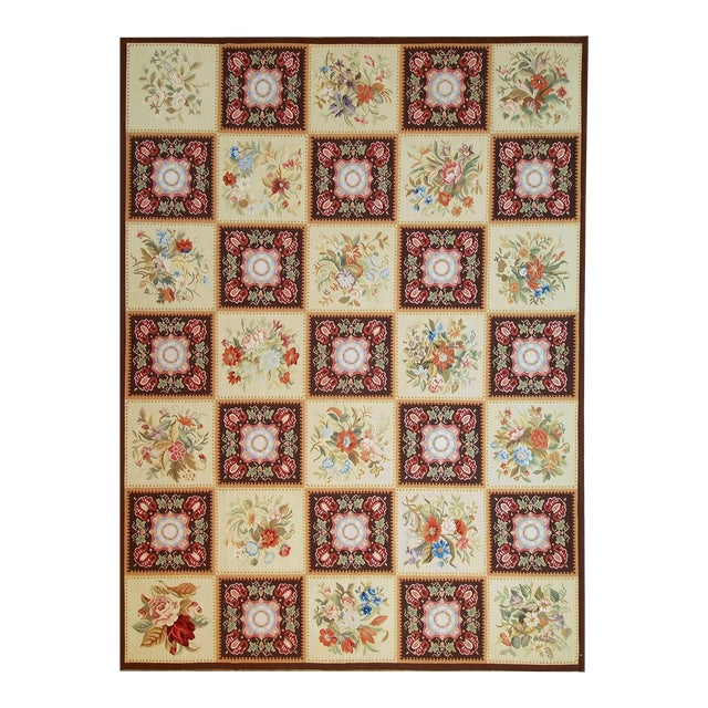 """Pasargad Aubusson Hand Woven Wool Rug - 8' 9"""" x 11'10"""" For Sale"""