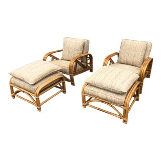 1960s Art Deco Ritts Tropitan Rattan Lounge Chairs With Ottomans - 4 Pieces For Sale