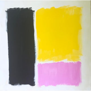 """Color Study: Blue/ Yellow/Pink"" Contemporary Abstract Painting by Sarah Trundle For Sale"