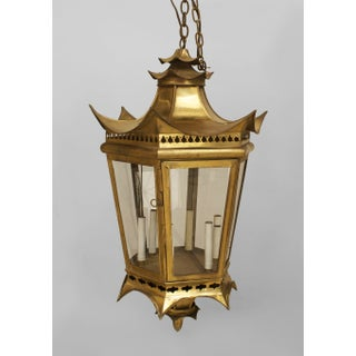 Pair of Asian Chinese Style Brass 8 Sided Glass Panel Lanterns