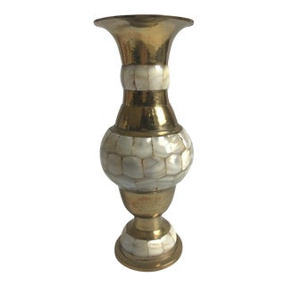 Brass And Mother Of Pearl Vase