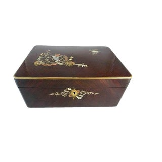 Antique French Mahogany Dressing Box With Mirror / Mother of Pearl Inlay & Abalone / Vanity Jewelry Box / Gift for Her For Sale
