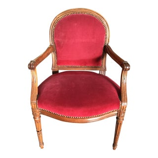Vintage Mid Century Red Corduroy Dining Chair For Sale