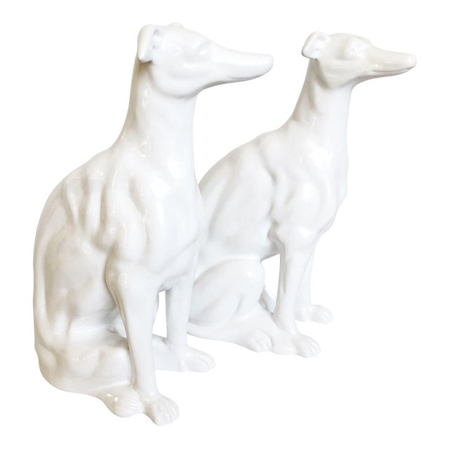 White Ceramic Greyhound Sculptures - a Pair For Sale