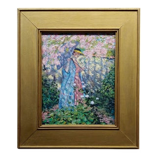 Manner of Frederick Frieseke Woman W/Parasol in Cherry Blossom Garden For Sale