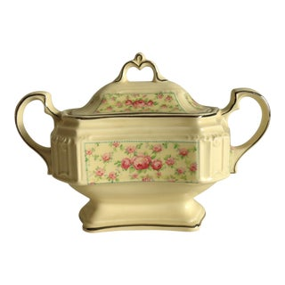 Shabby Chic Chintz Cottage Roses Sugar Bowl For Sale
