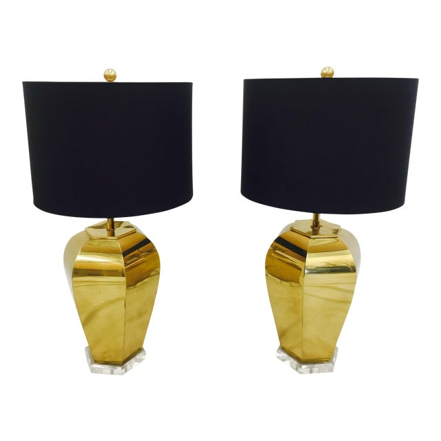 Vintage Brass & Lucite Base Lamps - Image 1 of 10