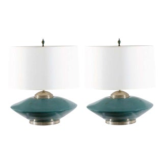Stunning Pair of Turquoise Ceramic and Silver Lamps by Orno For Sale