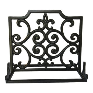 Heavy Black Cast Iron Book Holder With Fleur Des Lis For Sale