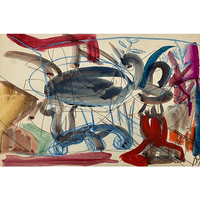 Josef Presser Polish/American 1907 in Lublin, Poland - 1967 in Paris, France. Abstract Composition Gouache, ink 12 x 18...