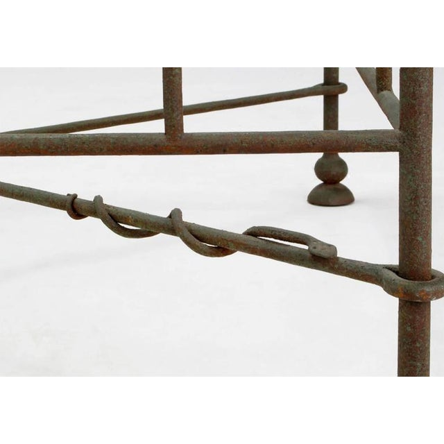 Giacometti-Style Patinated Hand-Wrought Iron and Glass Coffee Table - Image 6 of 6