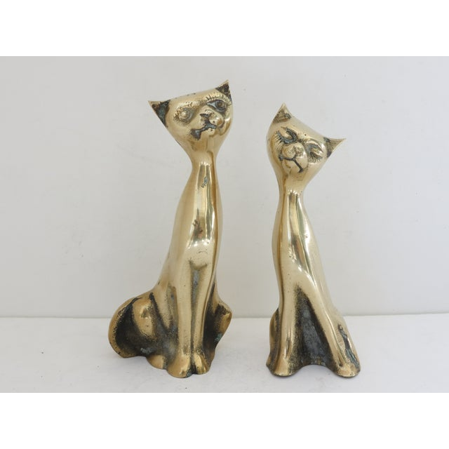 Mid Century Brass Cats - Pair - Image 2 of 5