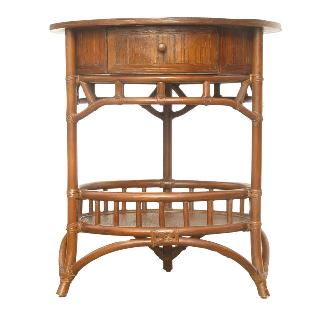 Rattan & Woven Cane Accent Table For Sale