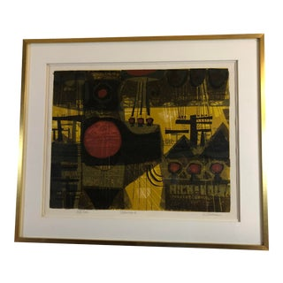 1969 Mid Century Framed Serigraph Titled Polescape by David Weidman For Sale