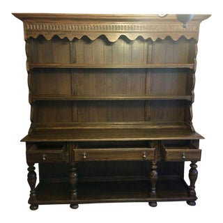 1970s Vintage Ethan Allen Royal Charter Jacobean Oak Cupboard For Sale
