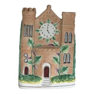 """Large Staffordshire Flatback Peach Colored Cottage Castle Pastille Burner 10.25"""" For Sale"""