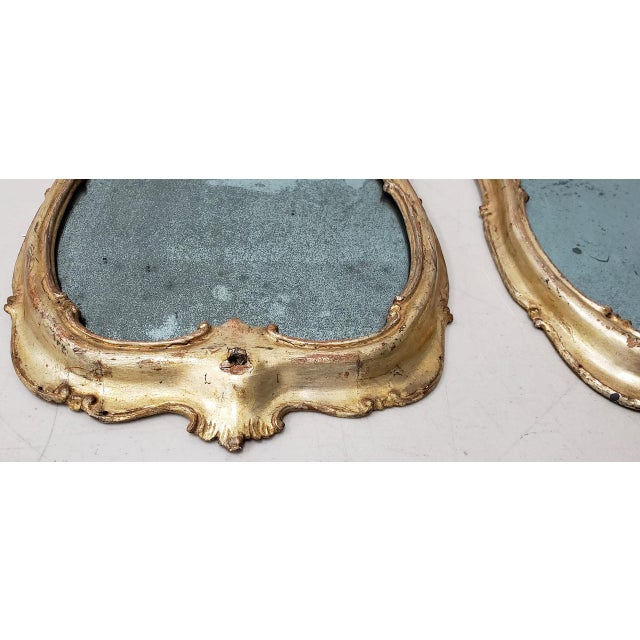 Glass Matching Pair of 19th Century Italian Hand Carved & Gilded Mirrors For Sale - Image 7 of 10