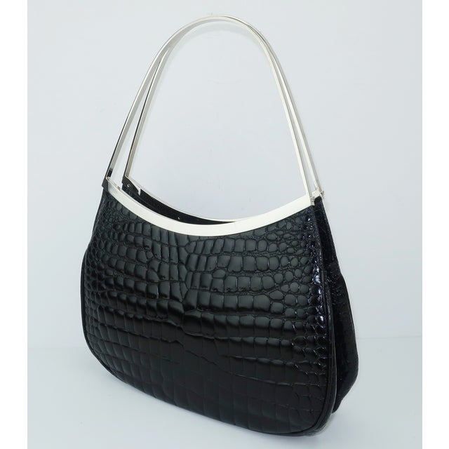 Vintage Versace Black Croc Embossed Leather Handbag With Unique Handles For Sale - Image 13 of 13
